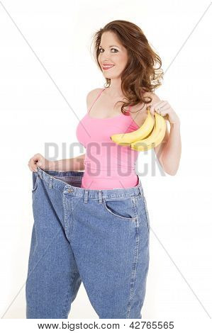 Woman In Pink Top With Bananas Big Pants