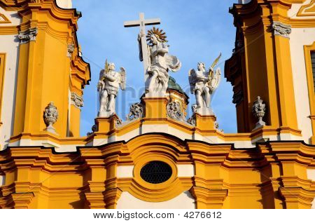 Statues On Church At Melk Benedictine Abbey