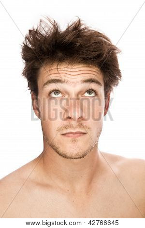 Caucasian man looking up (isolated on white)