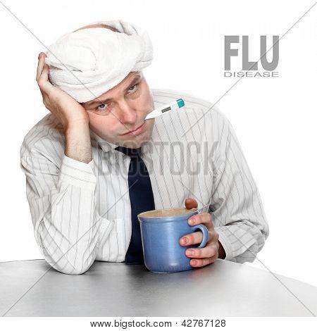 Homem doente no escritório. Conceito de controle de infecção.