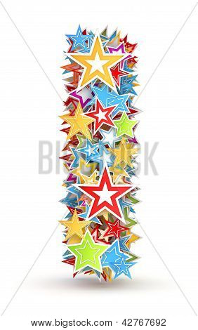 Letter i from colored stars