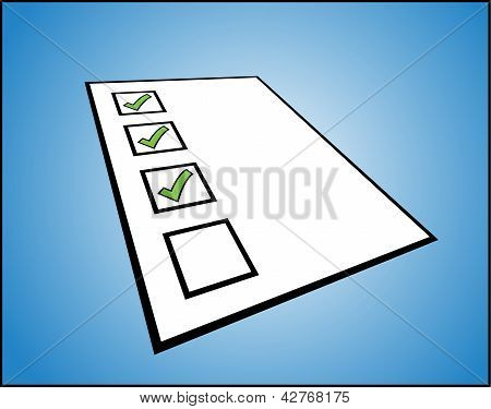 Concept Illustration of to do list or task list - perspective view of a while paper with different t