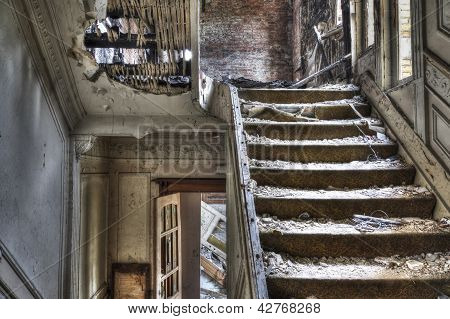 Staircase In Abandoned House