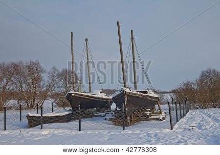 Russian Wooden Fishing Boats. Novgorod The Great, Russia