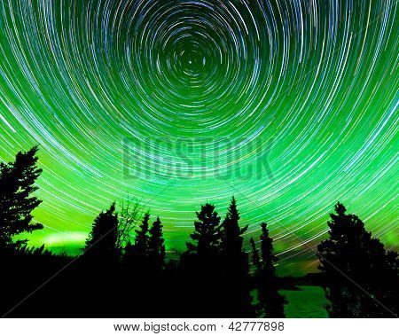 Star trails around Polaris and Northern lights