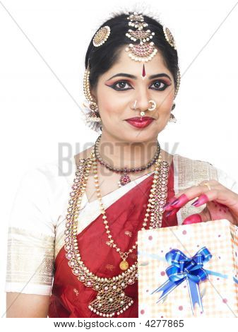 Classical Dancer With A Gift Box