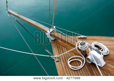 Ropes And Deck On Blue