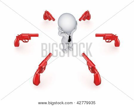 Revolvers around 3d small person.