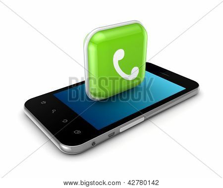 Mobile phone with icon of calling.