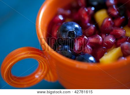 Fresh Fruit Salad in Antique Cup