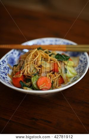 Asian Noodles in Japanese Bowl with Chopsticks - 1