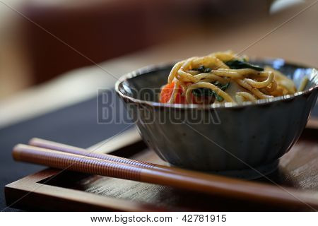 Asian Noodles in Japanese Bowl with Chopsticks - 2