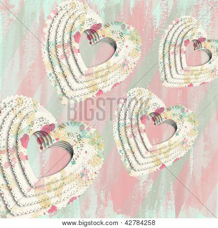 Paint Splatter Decoupage Hearts