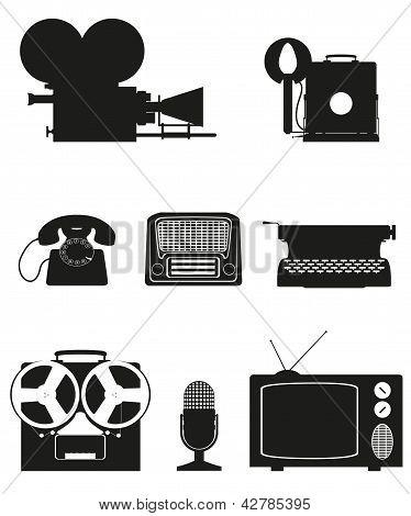 Vintage And Old Art Equipment Silhouette Video Photo Phone Recording Tv Radio Writing Vector Illustr