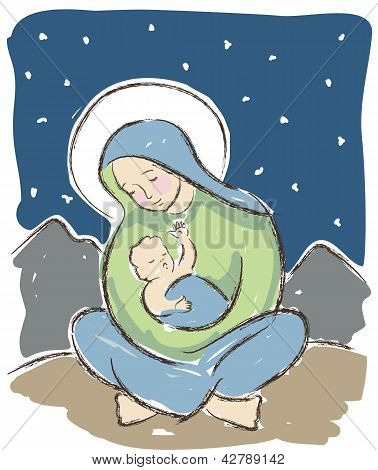 Virgin And Child Illustration