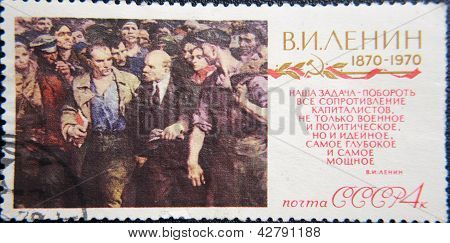 RUSSIA - CIRCA 1970: stamp printed by USSR at 1970 shows socialist lider Lenin walking through crowd