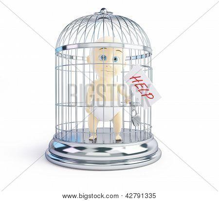Baby Amtshilfeersuchen in ein Vogel Käfig 3d Illustrationen