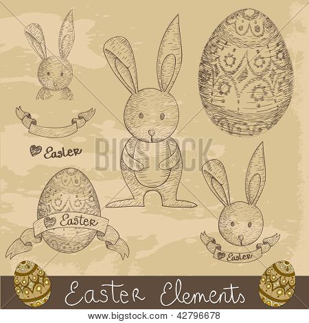 Vintage Happy Easter Elements Set