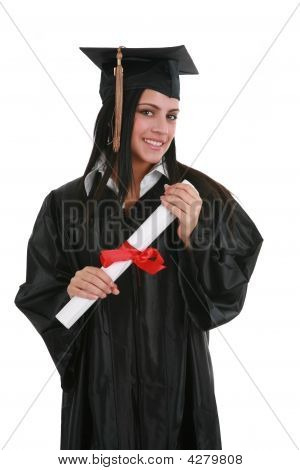 Happy Smiling Female Student Graduate Holding Diploma