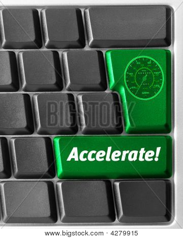 """Computer Keyboard,  With Green """"accelerate"""" Key"""