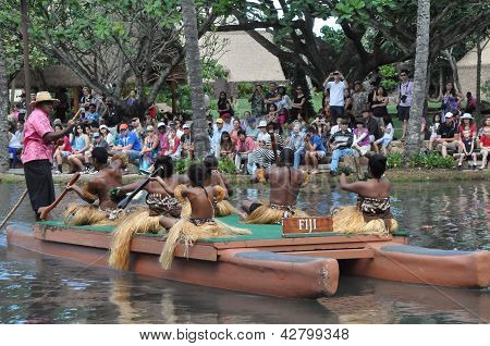 Canoe pageant at the Polynesian Cultural Center in Oahu, Hawaii