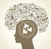stock photo of puzzle  - Human head and science icons - JPG