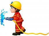 Illustration of a fireman holding a water hose on a white background