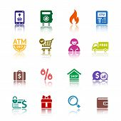 Set shopping colour icons