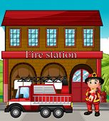 stock photo of fireman  - Illustration of a fireman with a fire truck in a fire station - JPG