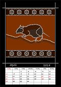 pic of musky  - A calender based on aboriginal style of dot painting depicting musky rat kangaroo  - JPG