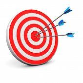 image of bullseye  - Red target with 3 arrows in the bullseye - JPG