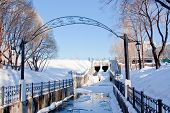 stock photo of perm  - channel in a winter park city Perm Russia - JPG