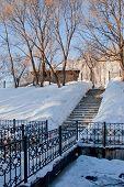 foto of perm  - bridge through a channel in a winter park city Perm Russia - JPG