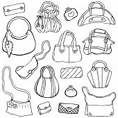 Women's handbags. Hand drawn Vector Set 3