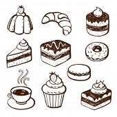 Hand-drawn illustrations of cakes and baked desserts