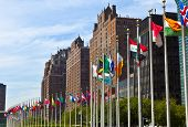 foto of flag pole  - United Nations Headquarters with flags of the members - JPG