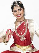 stock photo of bharatanatyam  - beautiful female Bharathanatyam dancer from South India - JPG