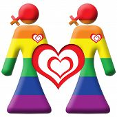 foto of gril  - An image of two lesbian grils with woman cross symbol in ranbow colours - JPG