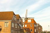 Windmill In The Dutch Town Of Gorinchem. Netherlands