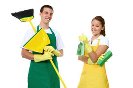 pic of house cleaning  - An attractive man and woman holding cleaning supplies - JPG