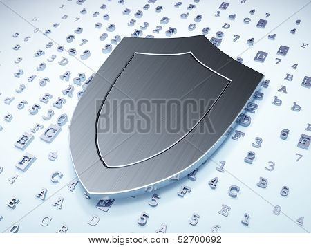 Protection concept: Silver Shield on digital background