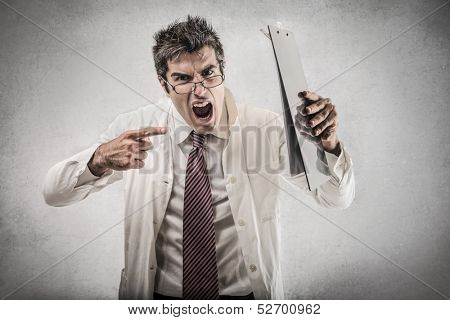 angry doctor with glasses screaming