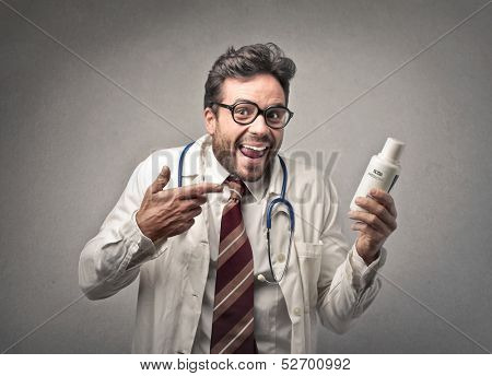 handsome doctor provides medicine