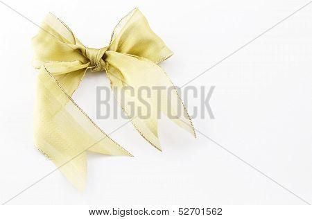 Gold Bow On White Rectangular Background