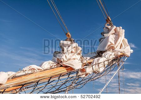 Gathered Sail Of A Big Sailing Ship