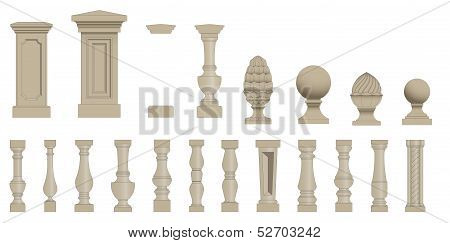 Set  of silhouettes balusters