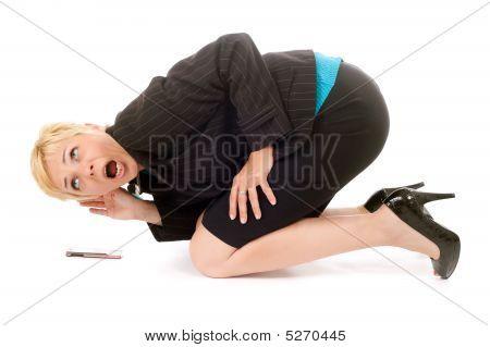 Business Woman Listen Cellphone