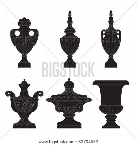 stone Urn & Fleeron Set 3