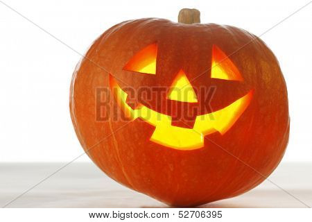 Halloween Pumpkin, funny Jack O'Lantern on white background