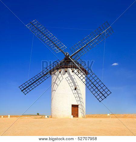 Windmill And Blue Sky. Alcazar De San Juan, Castile La Mancha, Spain